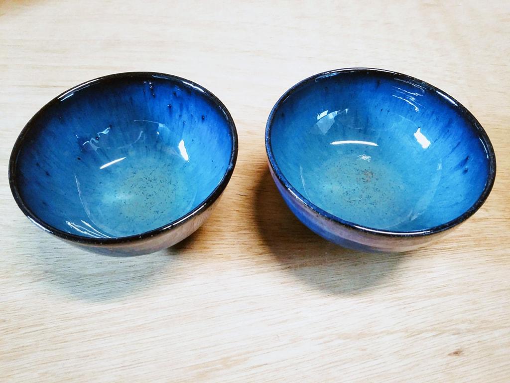 深海釉の碗 完成品2点
